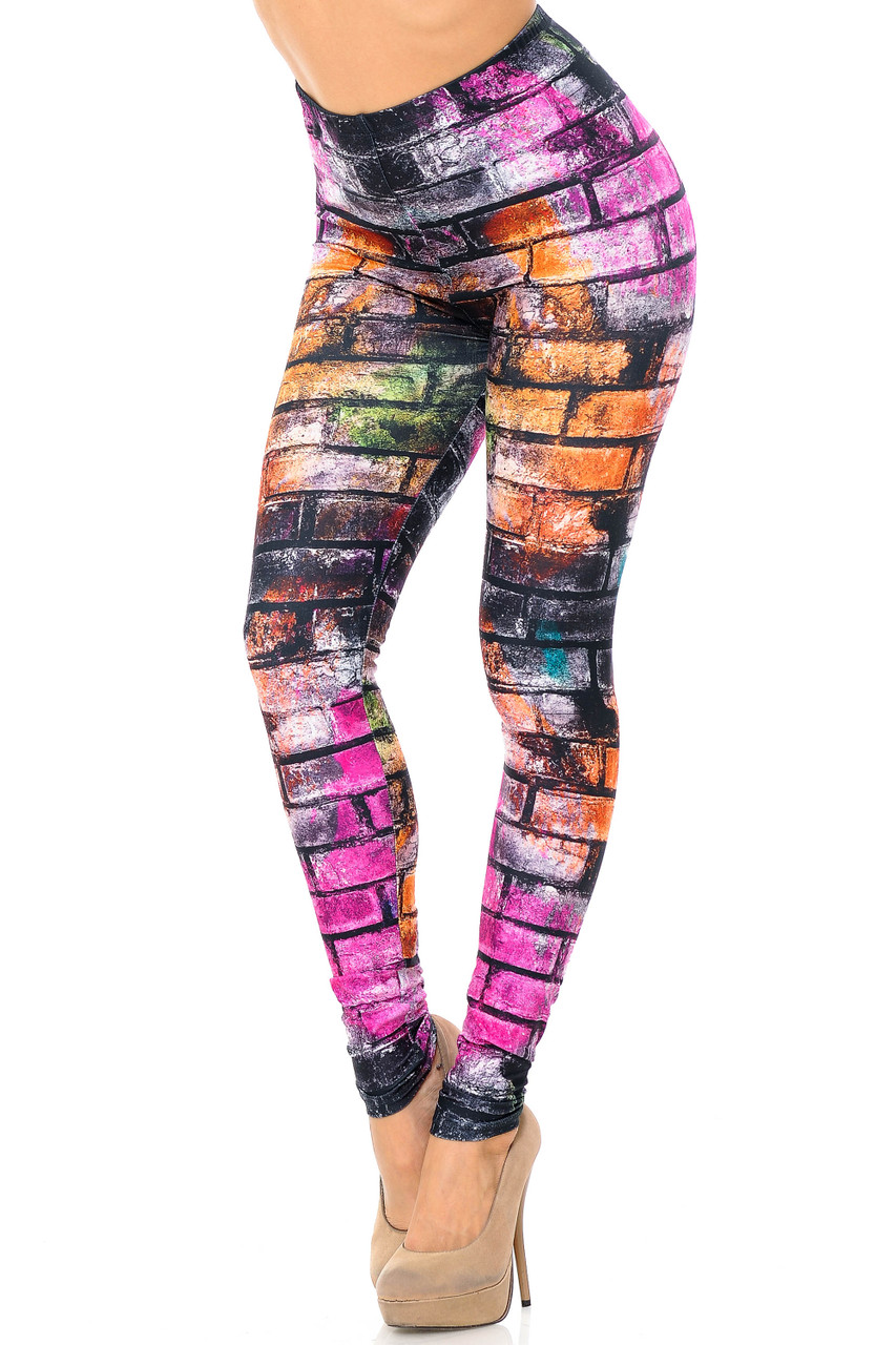 With a sassy urban vibe Creamy Soft Rainbow Brick Extra Plus Size Leggings - 3X-5X - USA Fashion™ feature a mainly fuchsia and orange, and black sprayed brickwork print.