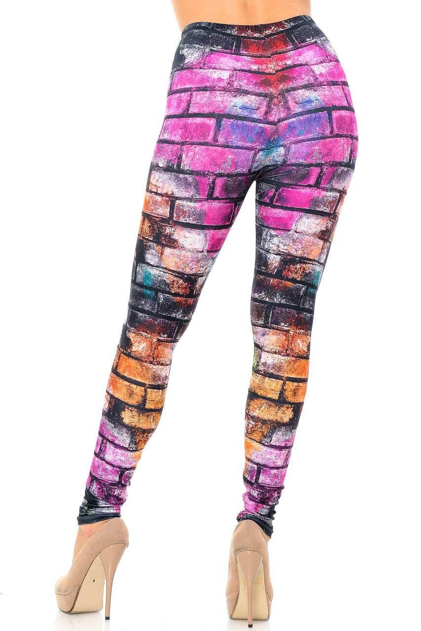 Rear view image of our cool and colorful Creamy Soft Rainbow Brick Extra Plus Size Leggings - 3X-5X - USA Fashion™ showcasing a flattering figure hugging fit.