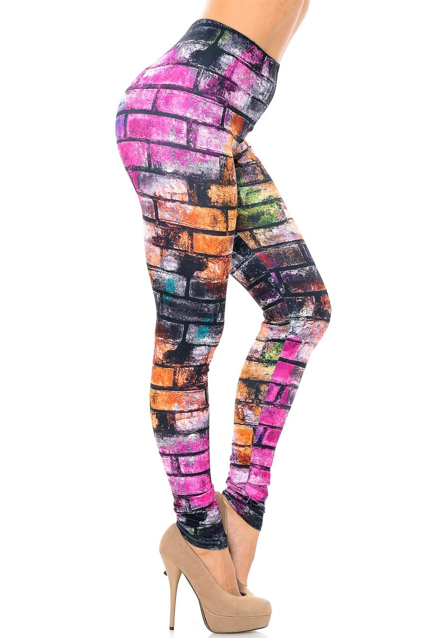 Right side leg image view of Creamy Soft Rainbow Brick Extra Plus Size Leggings - 3X-5X - USA Fashion™