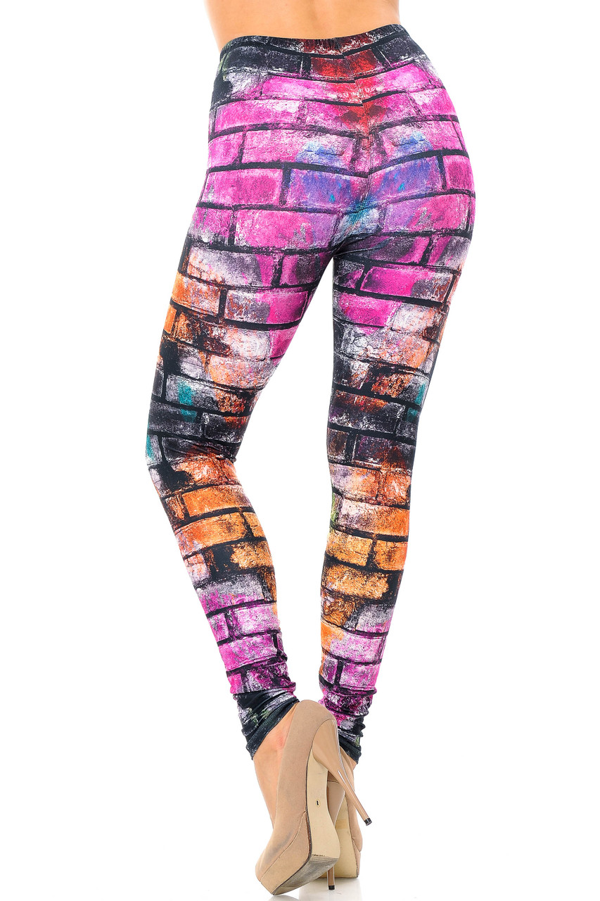 Back view of Creamy Soft Rainbow Brick Extra Plus Size Leggings - 3X-5X - USA Fashion™ featuring an eye-catching 360 degree print.