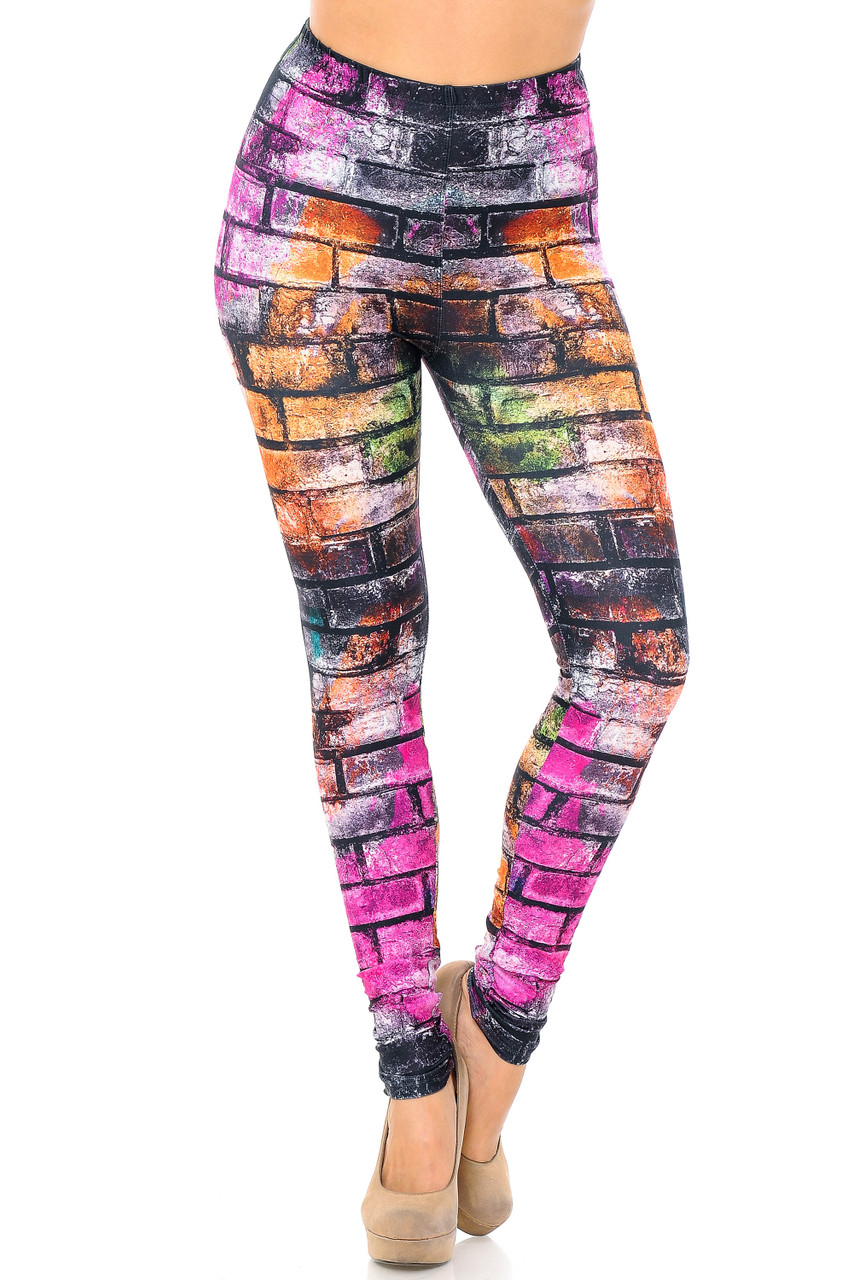 Front view image of Creamy Soft Rainbow Brick Extra Plus Size Leggings - 3X-5X - USA Fashion™ feature an elastic stretch waist that comes up to about mid rise.