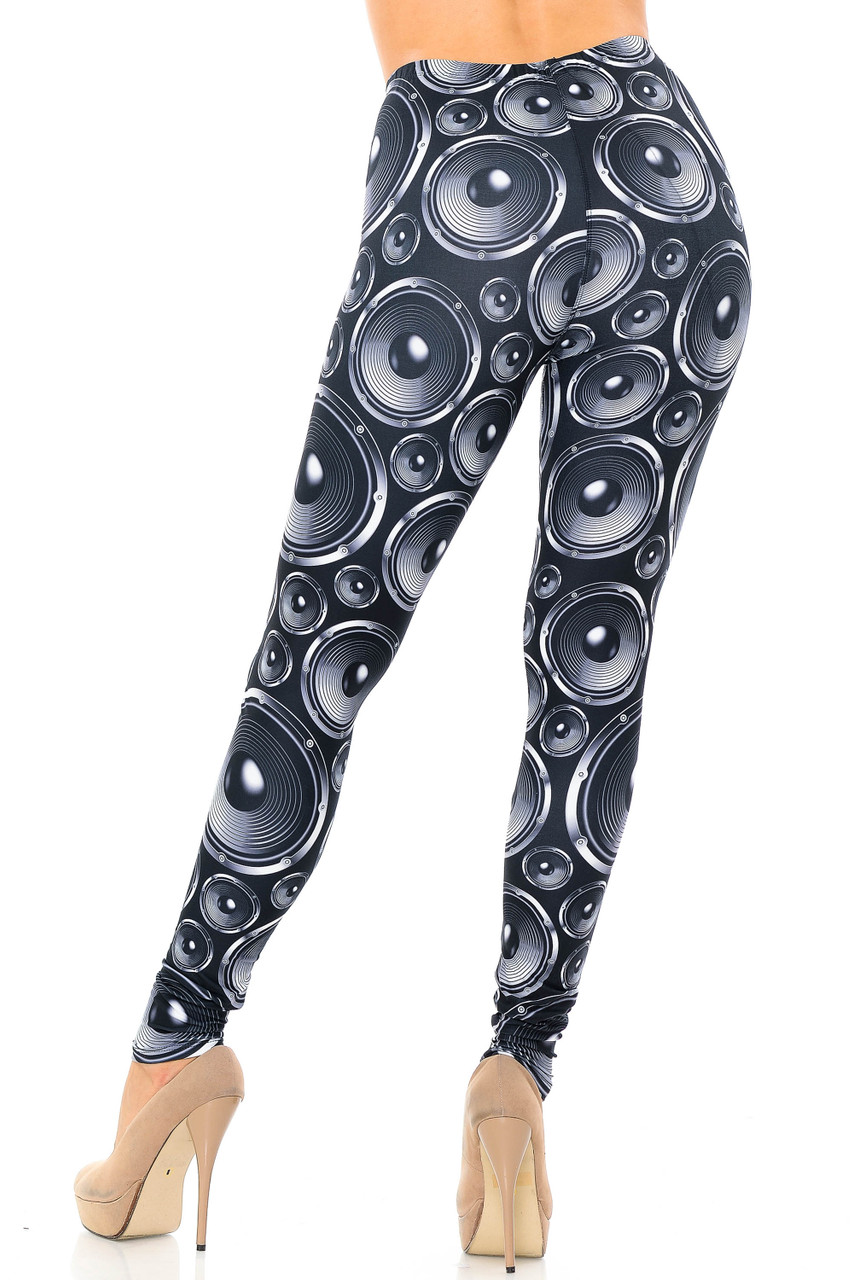 Rear view image of Creamy Soft Speaker Plus Size Leggings - USA Fashion™ with a super eye-catching print and a flattering figure hugging fit.