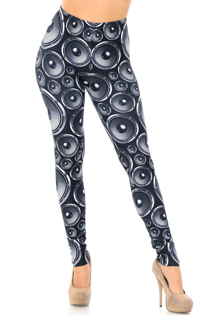 Front view image of Creamy Soft Speaker Plus Size Leggings - USA Fashion™ featuring a full length skinny leg cut, and a color scheme that pairs with a top of any color for any season.