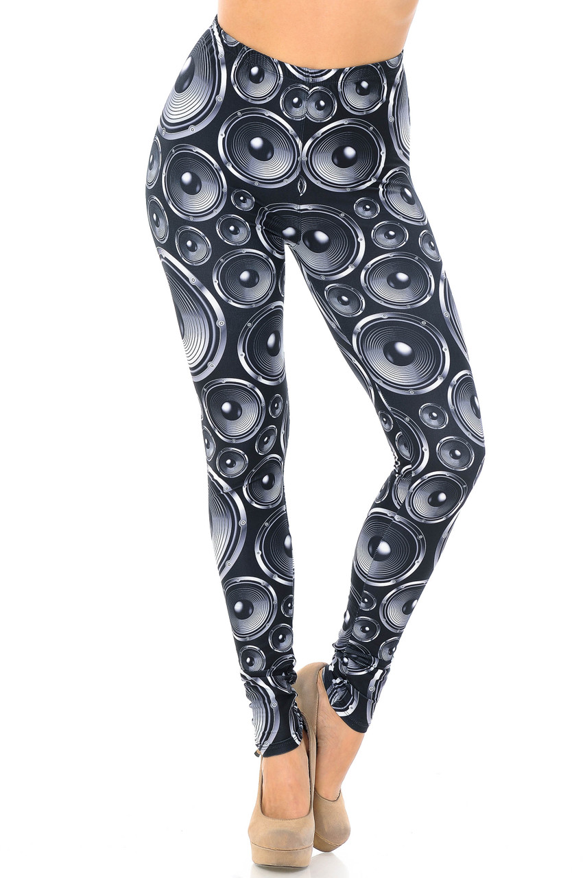 Front view image of Creamy Soft Speaker Plus Size Leggings - USA Fashion™ featuring a comfort stretch elastic waist.