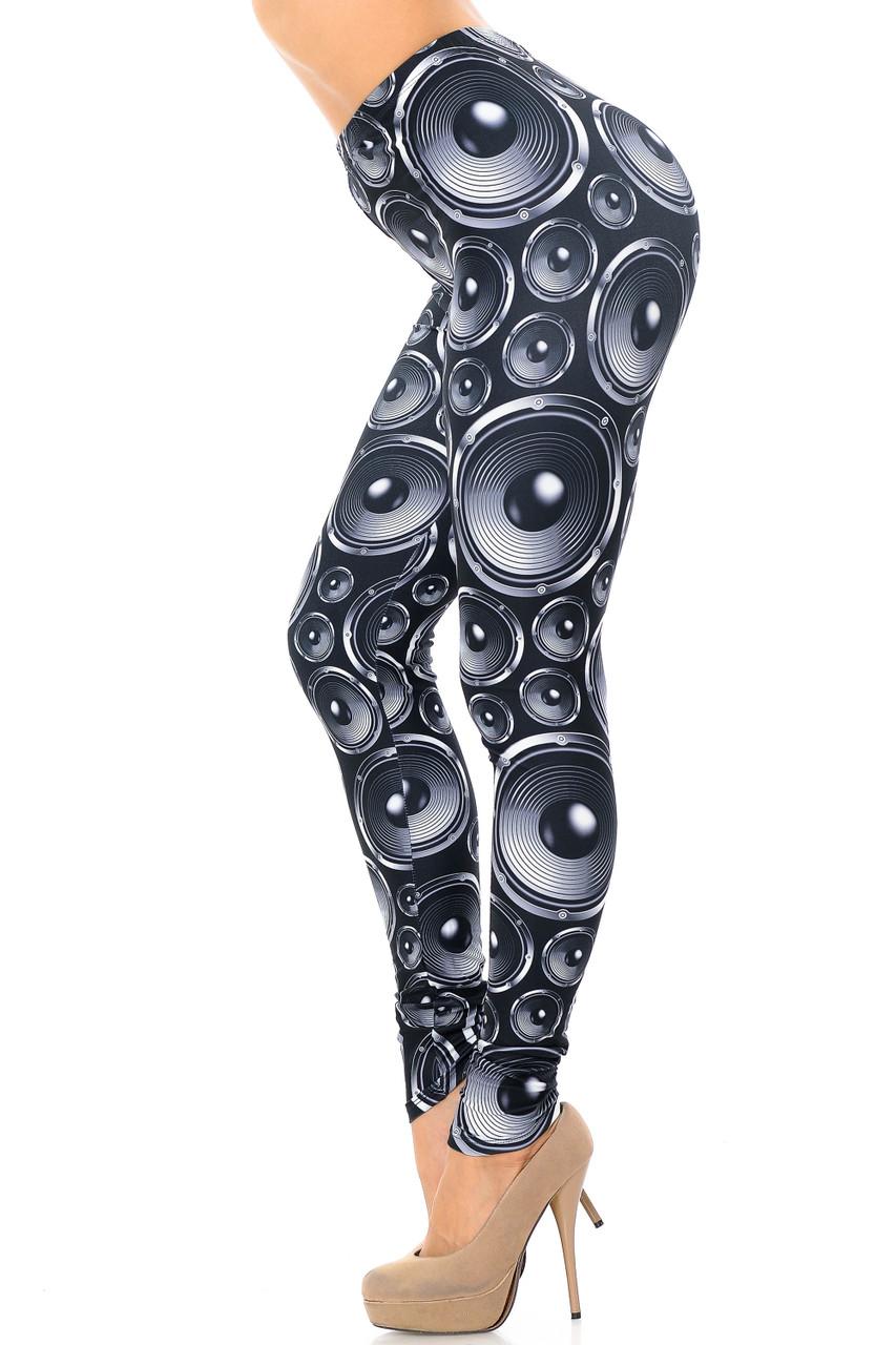Left side view image of Creamy Soft Speaker Extra Plus Size Leggings - 3X-5X - USA Fashion™