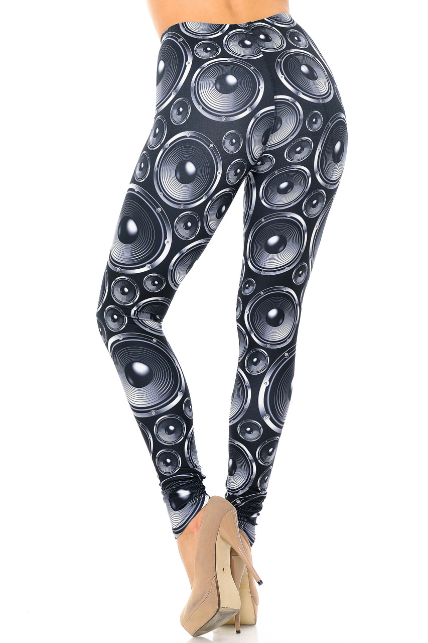 Back view of Creamy Soft Speaker Extra Plus Size Leggings - 3X-5X - USA Fashion™ with a stand out 360 degree print.