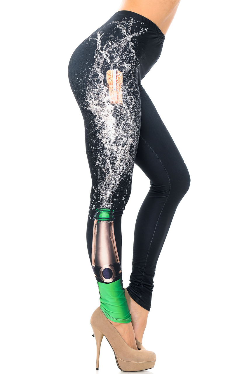Right side image view of Creamy Soft Pop the Champagne Plus Size Leggings - USA Fashion™ feature a print of a bottle bursting in a celebratory fashion.
