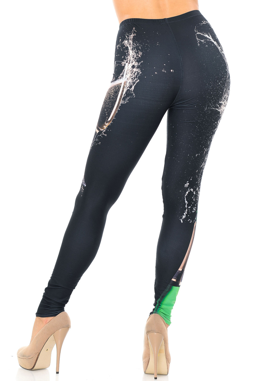 Rear view image showcasing the flattering fit of our Creamy Soft Pop the Champagne Plus Size Leggings - USA Fashion™