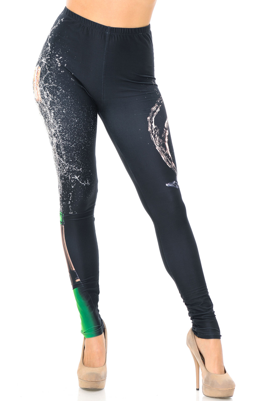 Front view image of our full length skinny leg cut Creamy Soft Pop the Champagne Plus Size Leggings - USA Fashion™