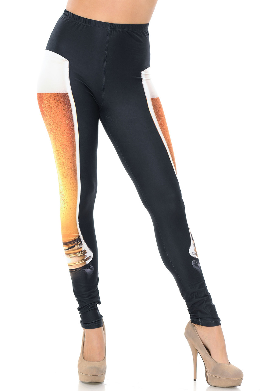 Front view image of our full length skinny leg cut Creamy Soft Draft Beer Leggings - USA Fashion™ that feature an eye-catching party or festival look.