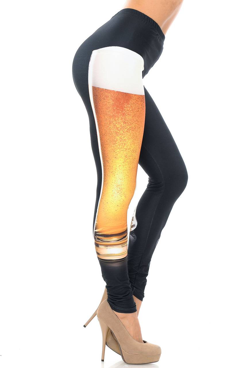 Right side view image of Creamy Soft Draft Beer Extra Plus Size Leggings - USA Fashion™