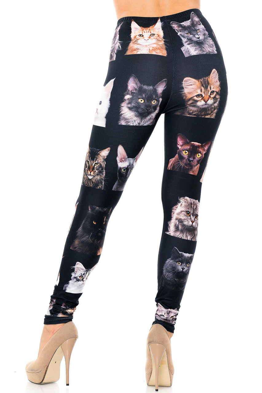 Back view image of Creamy Soft Cute Kitty Cat Faces Leggings - USA Fashion™  showcasing the flattering figure hugging look.