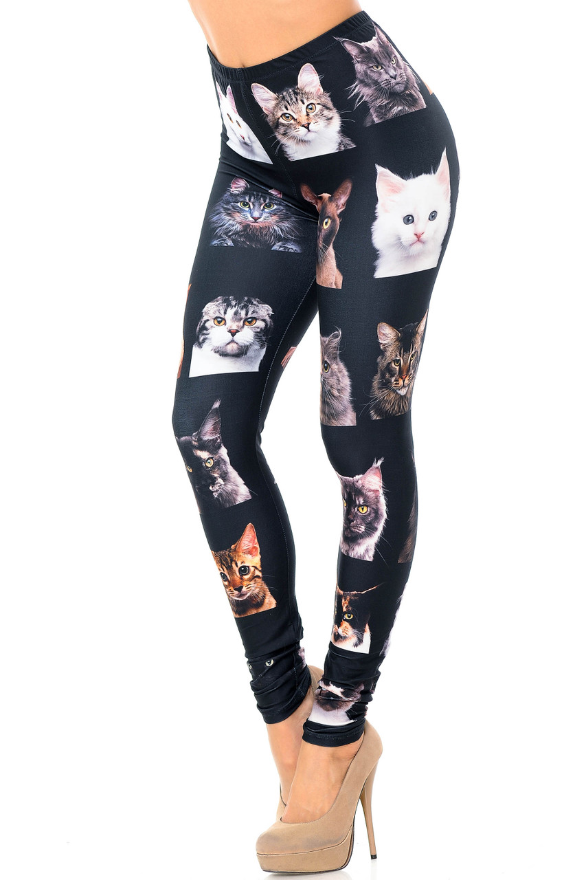 Left side view image of our Creamy Soft Cute Kitty Cat Faces Plus Size Leggings - USA Fashion™ featuring a black background covered with adorable faces of different types of kitties.