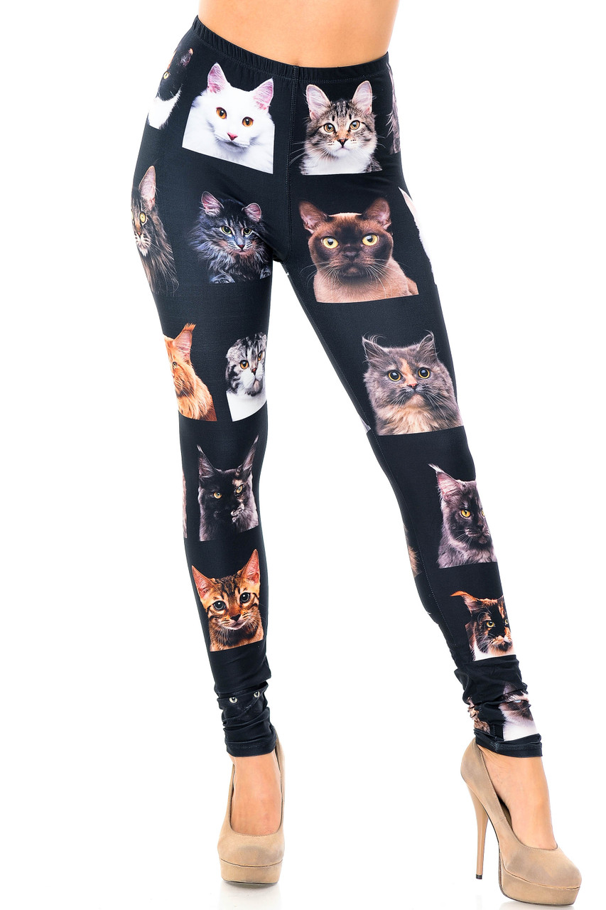 Front image view of our full length skinny leg cut Creamy Soft Cute Kitty Cat Faces Plus Size Leggings - USA Fashion™