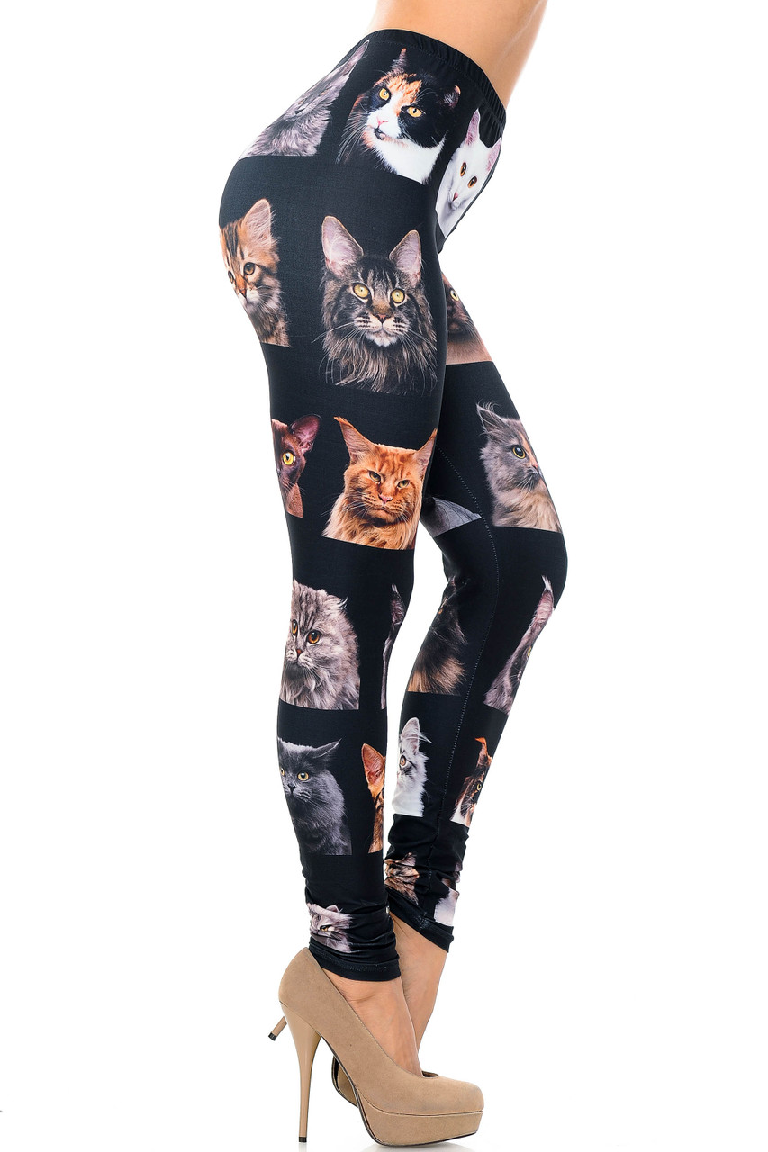 Right side view image of Creamy Soft Cute Kitty Cat Faces Plus Size Leggings - USA Fashion™