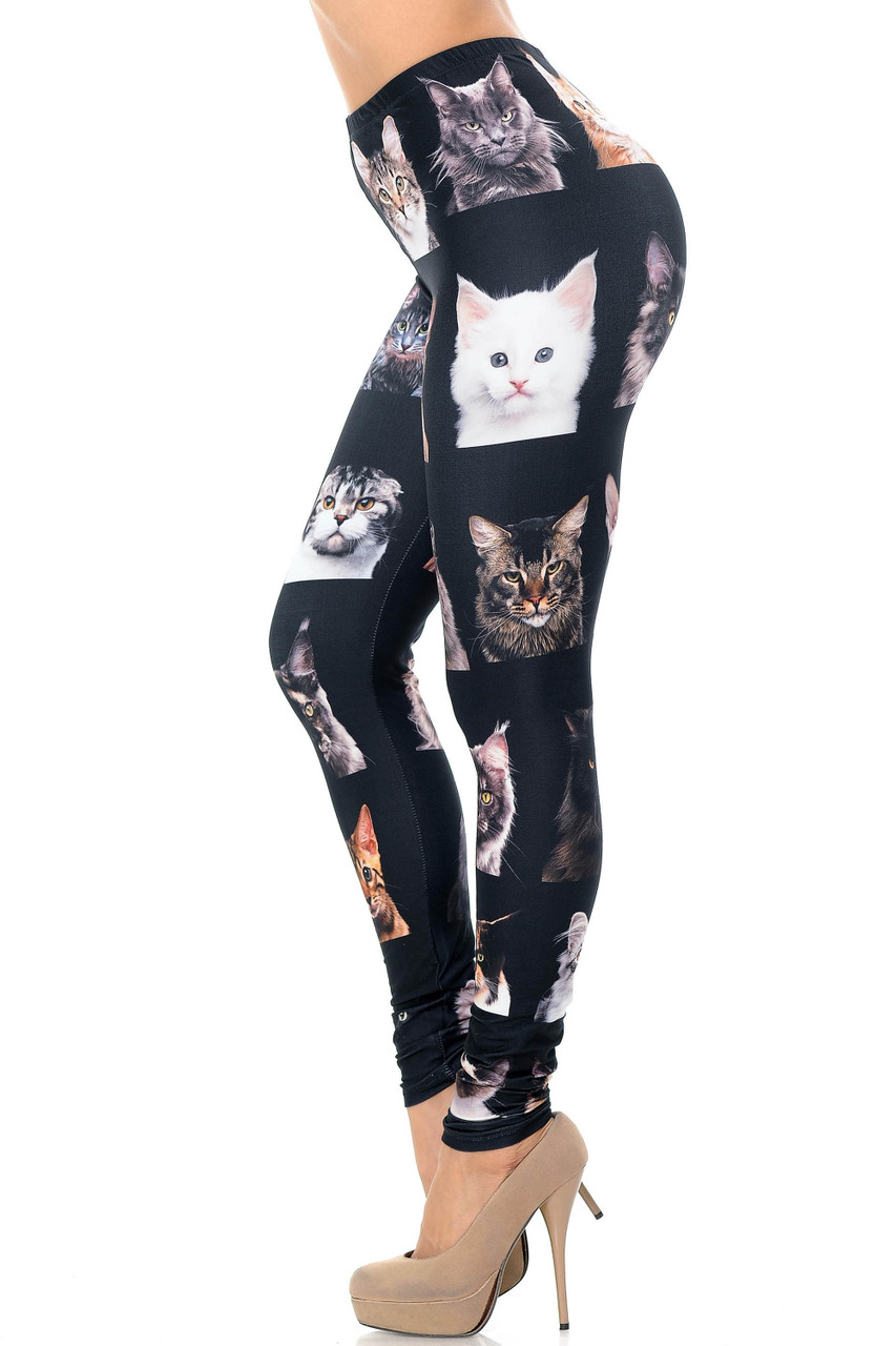 Left side view image of Creamy Soft Cute Kitty Cat Faces Extra Plus Size Leggings - USA Fashion™