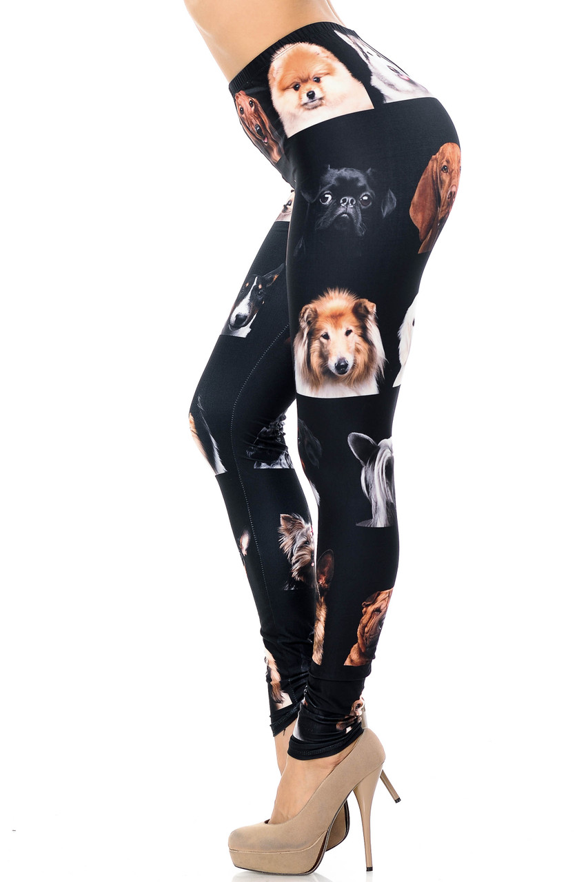 Left side view image of Creamy Soft Cute Puppy Dog Faces Extra Plus Size Leggings - 3X-5X - USA Fashion™