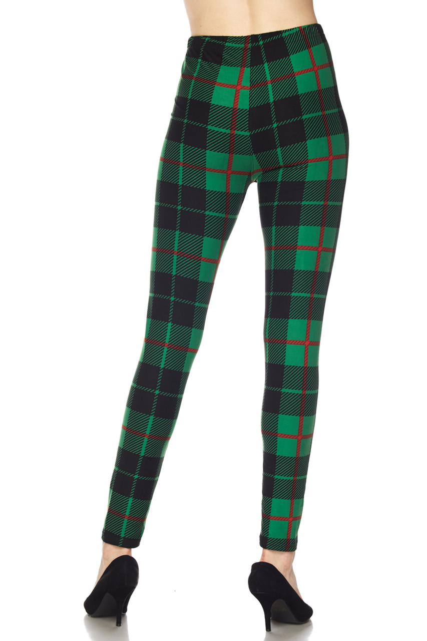 Rear view image of our figure flattering Buttery Soft Green Holiday Plaid Extra Plus Size Leggings with a body hugging fit.