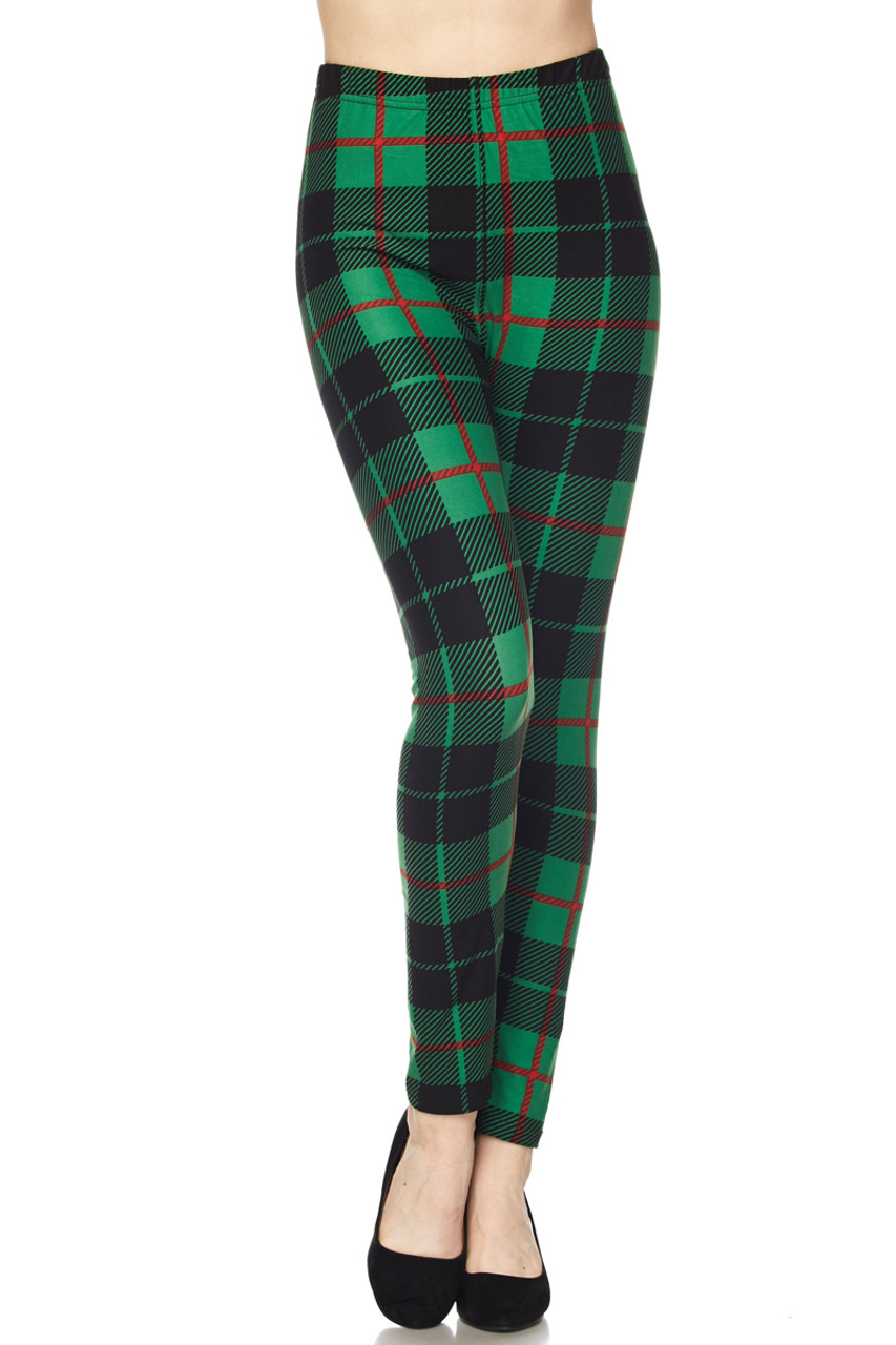 Front view of Buttery Soft Irish Green Plaid Extra Plus Size Leggings - 3X-5X featuring a full length skinny leg cut.
