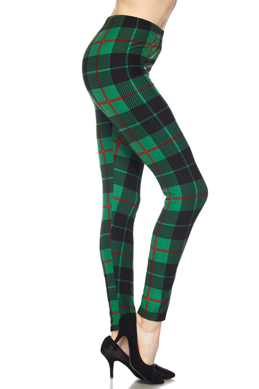 Right side view of Buttery Soft Irish Green Plaid Extra Plus Size Leggings - 3X-5X