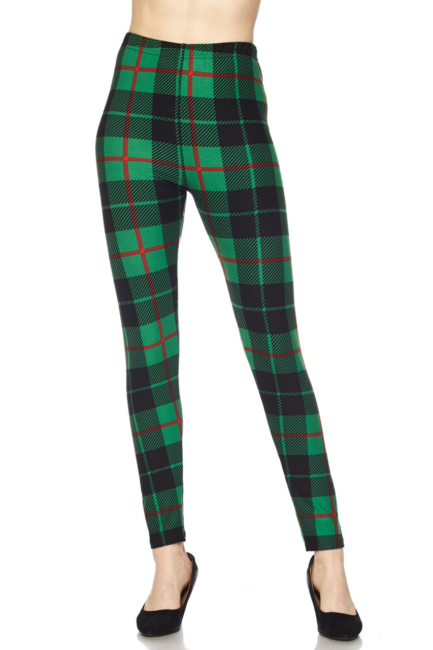 Front view image of Buttery Soft Irish Green Plaid Extra Plus Size Leggings - 3X-5X featuring an elastic comfort waist that comes up to about mid rise.