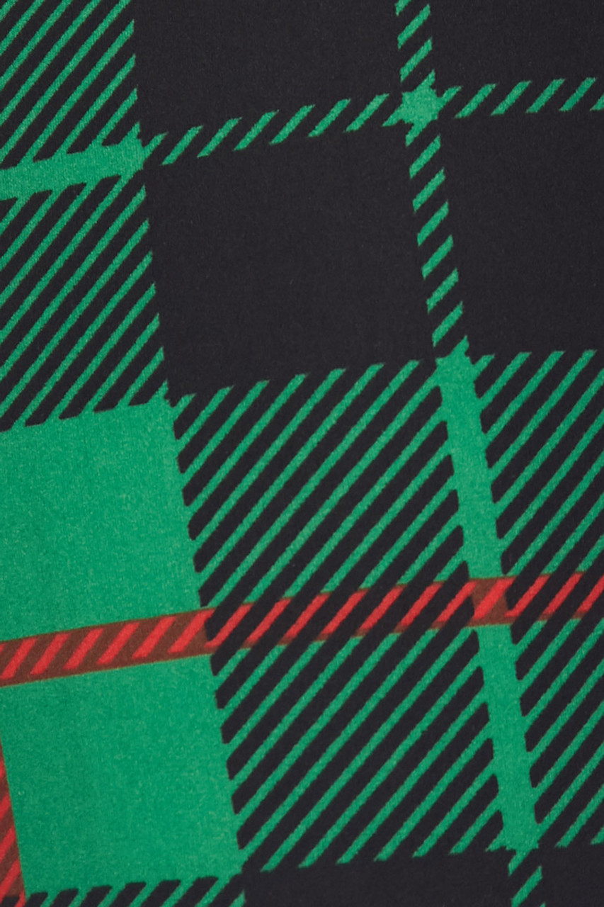 Close up swatch of Buttery Soft Irish Green Plaid Extra Plus Size Leggings - 3X-5X
