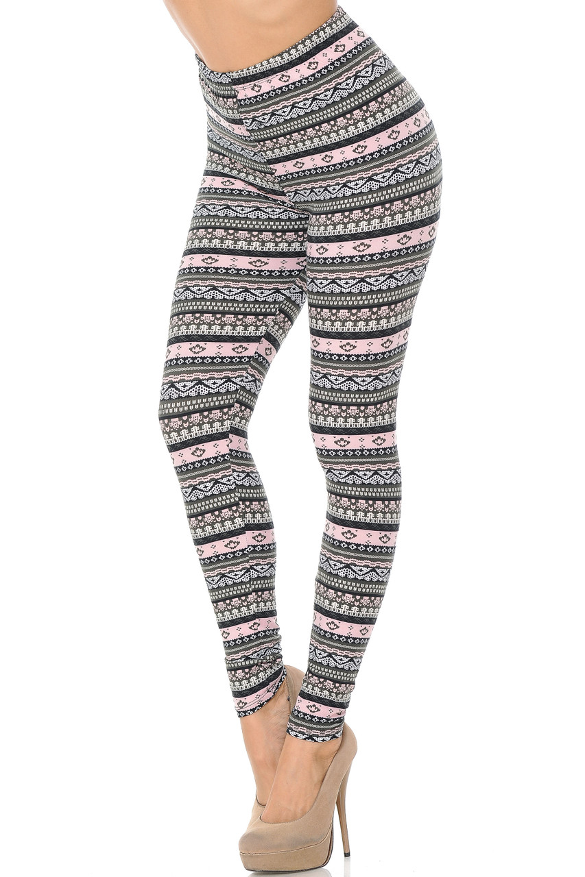 Left angled view of Buttery Soft Dainty Pink Wrap Plus Size Leggings featuring a horizontal banded design with a black white, charcoal, and baby pink color scheme, featuring an ornate print.