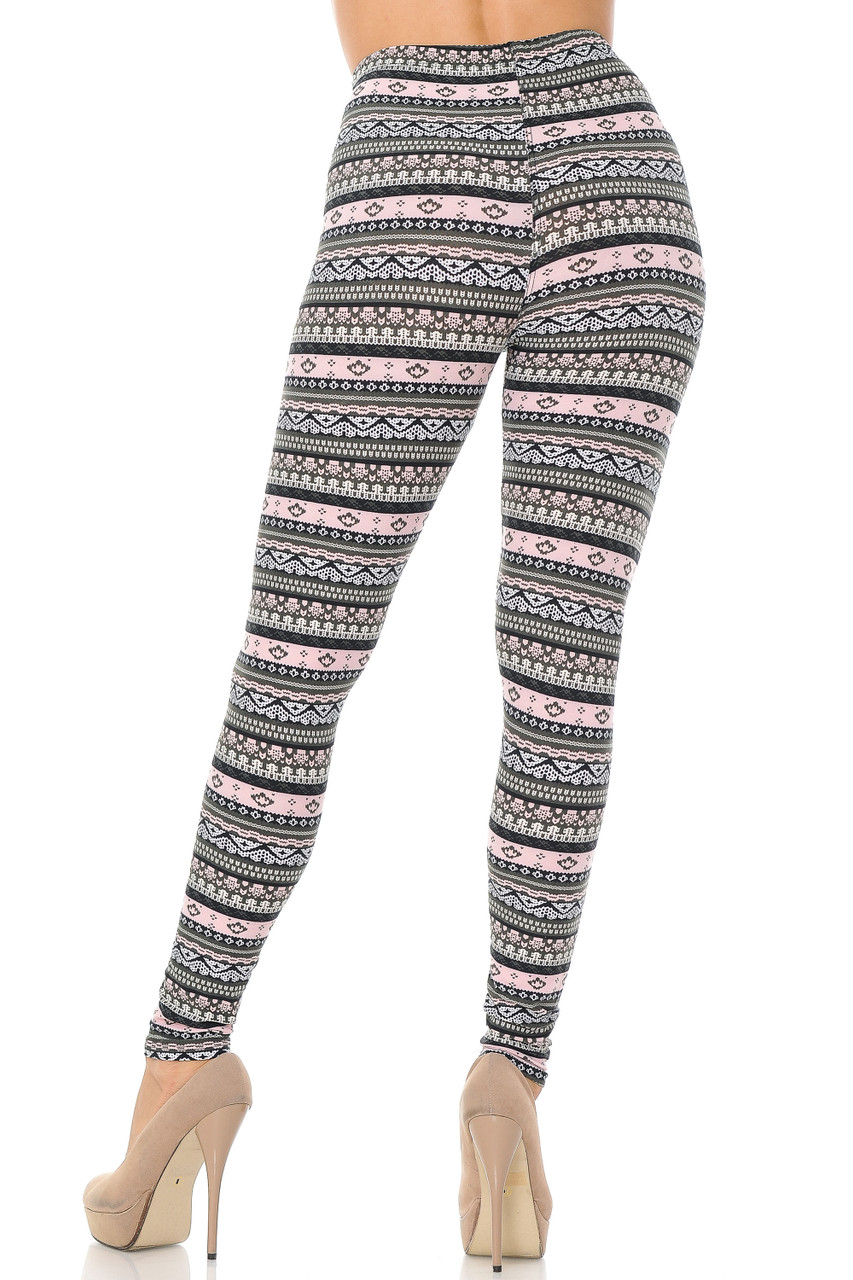 Back view of Buttery Soft Dainty Pink Wrap Plus Size Leggings showcasing a figure flattering body hugging fit.