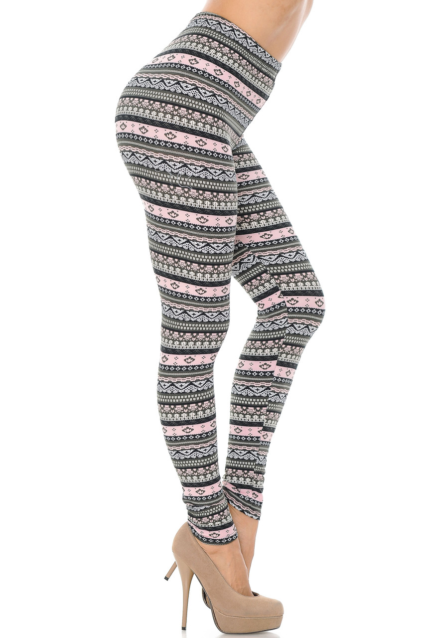 Right side view image of Buttery Soft Dainty Pink Wrap Plus Size Leggings