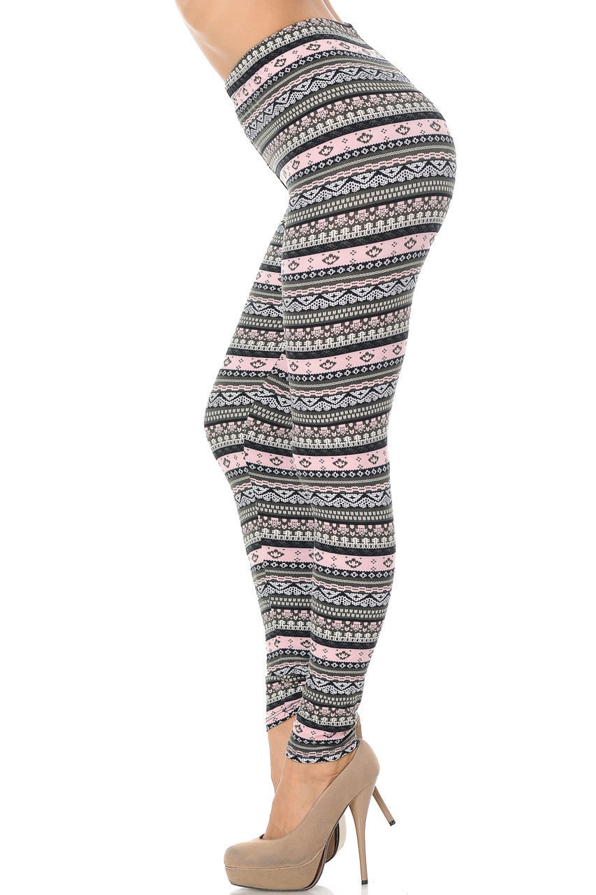Left side view image of Buttery Soft Dainty Pink Wrap Plus Size Leggings