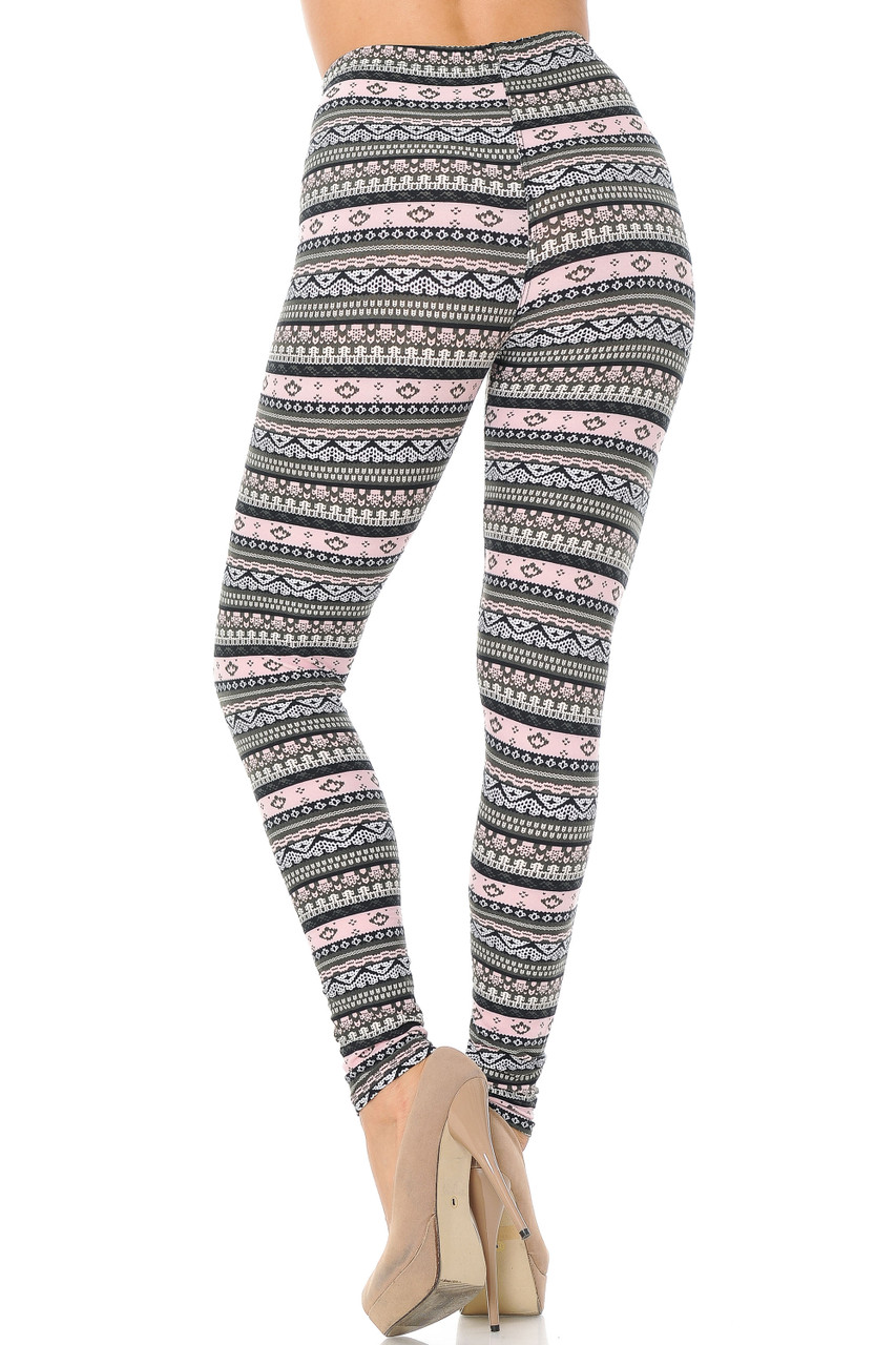Rear view image of Buttery Soft Dainty Pink Wrap Plus Size Leggings featuring a stretchy comfortable fabric.