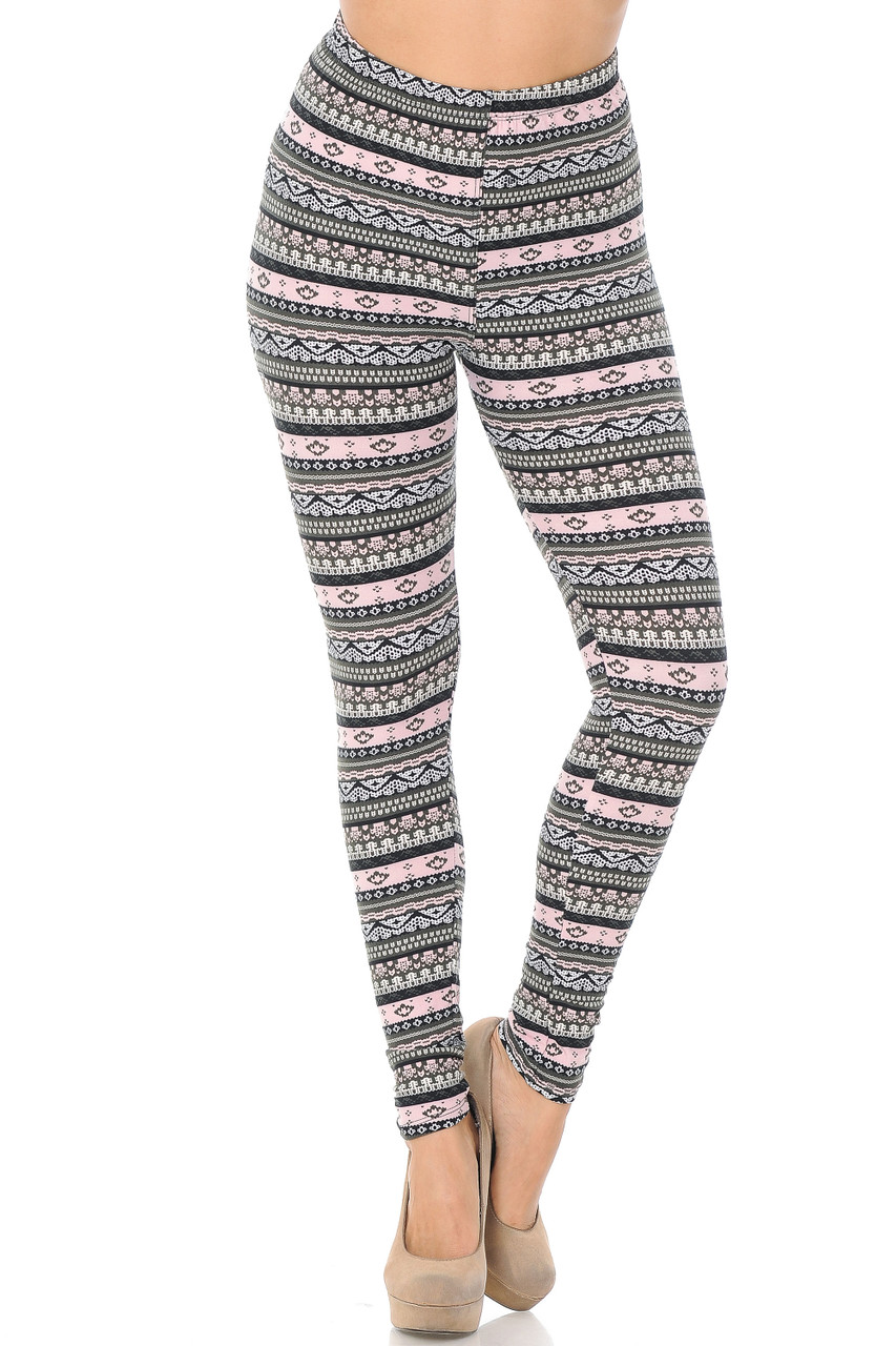 Front view image of Buttery Soft Dainty Pink Wrap Plus Size Leggings with an elastic waistband that comes up to about mid rise.