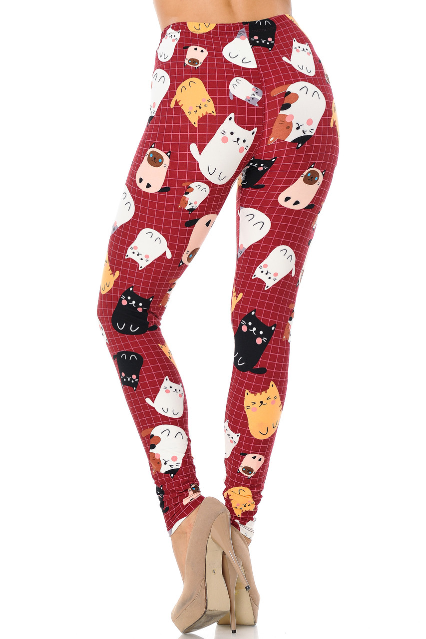 Back view of our Buttery Soft Cartoon Kitty Cats Plus Size Leggings featuring an adorable 360 degree print.