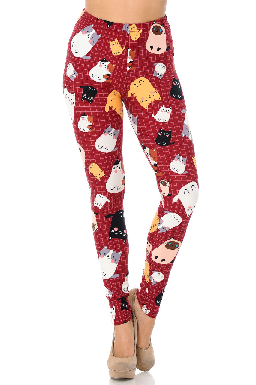 Our colorful Buttery Soft Cartoon Kitty Cats Plus Size Leggings feature an elastic stretch mid rise waist.