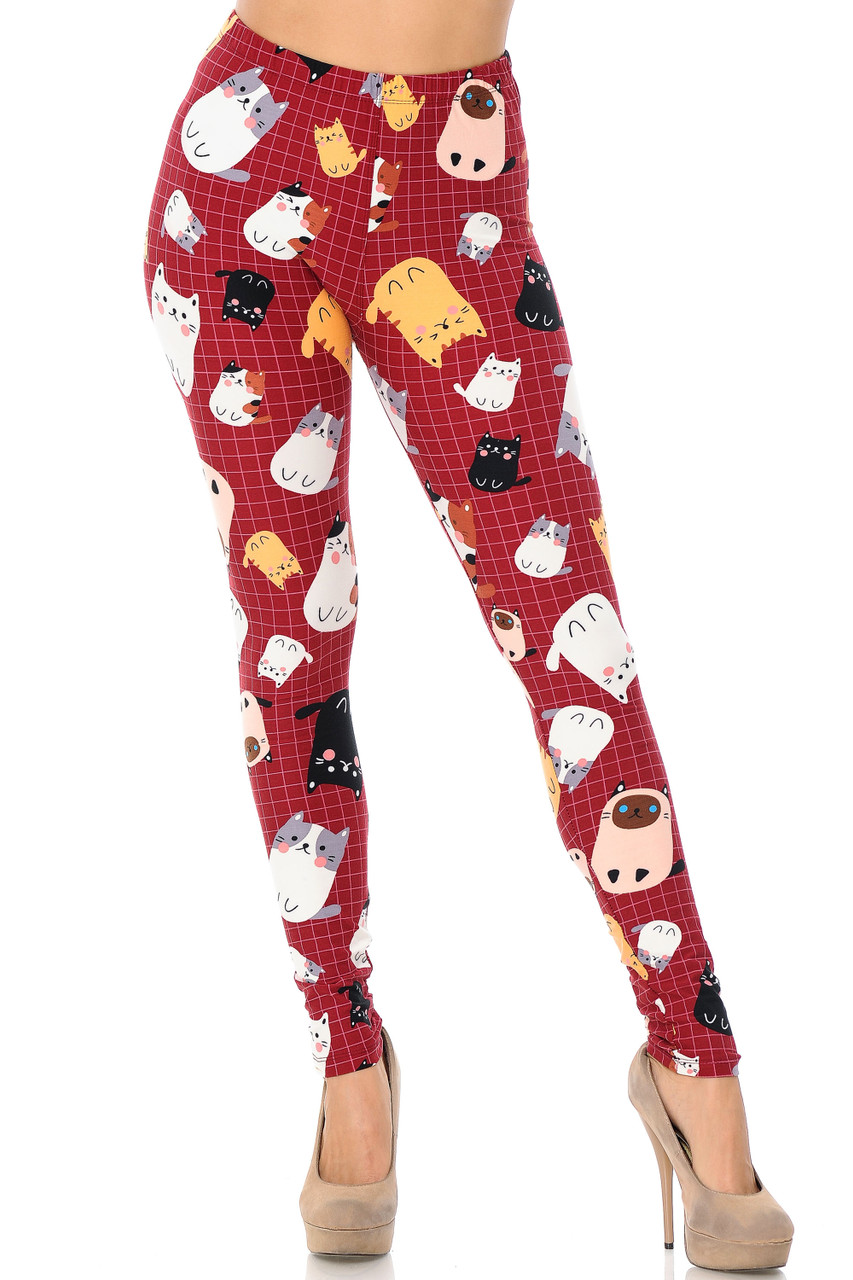 Front view of Buttery Soft Cartoon Kitty Cats Extra Plus Size Leggings with a full length skinny leg cut.