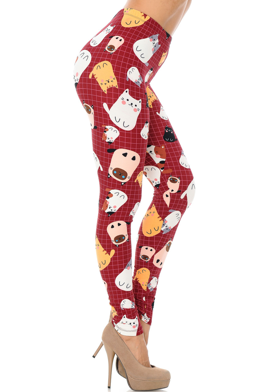 Right side leg view Buttery Soft Cartoon Kitty Cats Extra Plus Size Leggings - 3X-5X