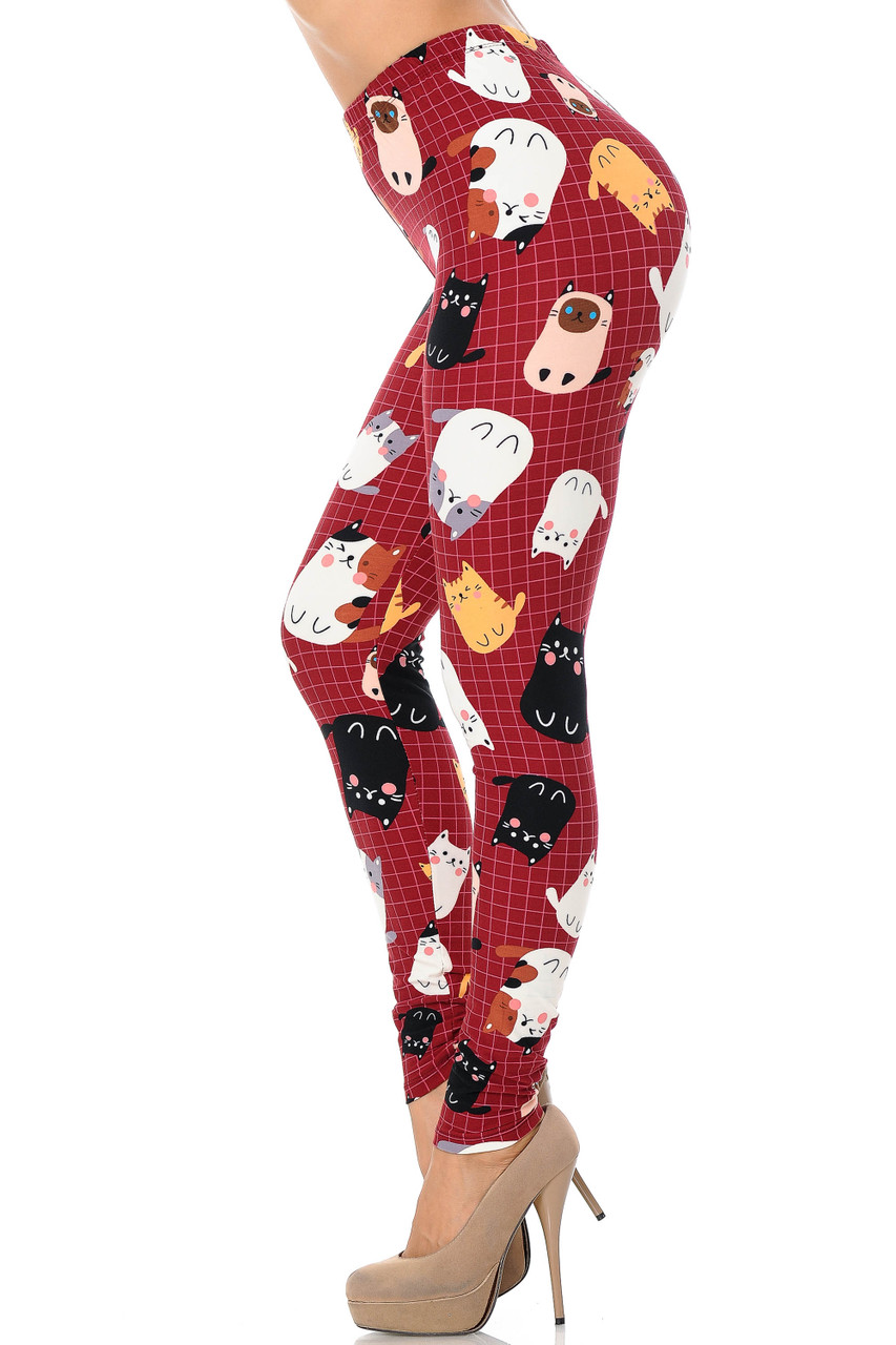 Left side leg view Buttery Soft Cartoon Kitty Cats Extra Plus Size Leggings - 3X-5X
