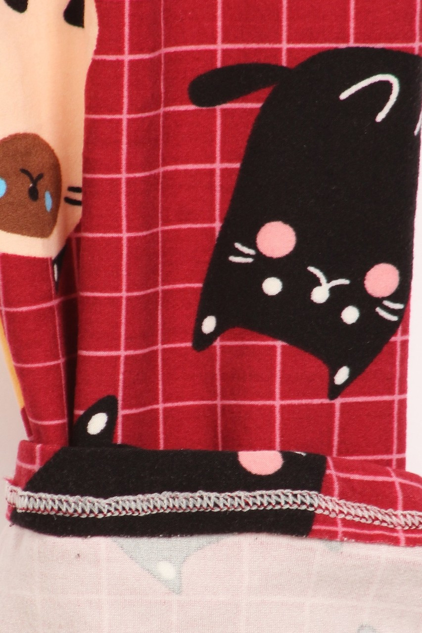 Close up fabric swatch of Buttery Soft Cartoon Kitty Cats Extra Plus Size Leggings - 3X-5X
