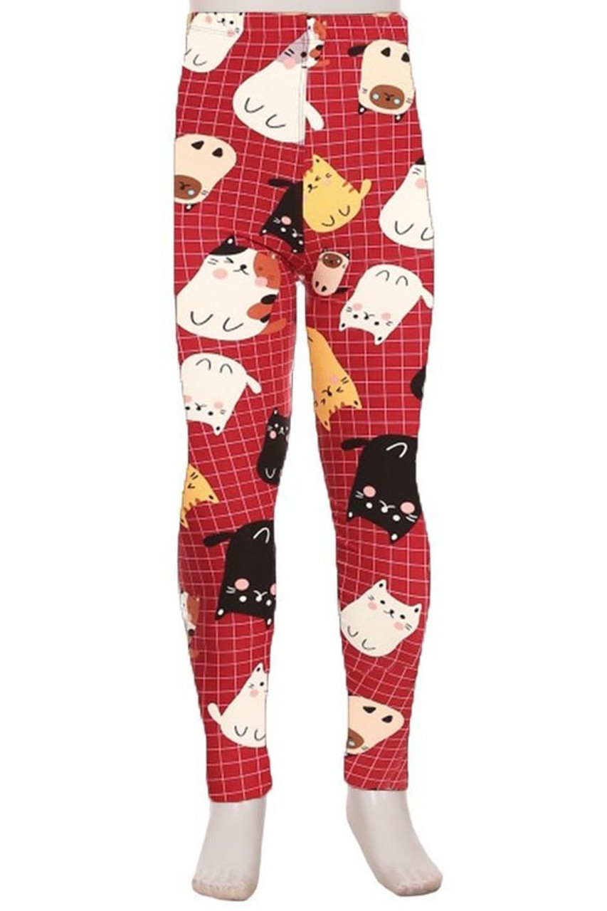 Front view of Buttery Soft Cartoon Kitty Cats Kids Leggings with a red background featuring a white grid pattern decorated with cute kitties.