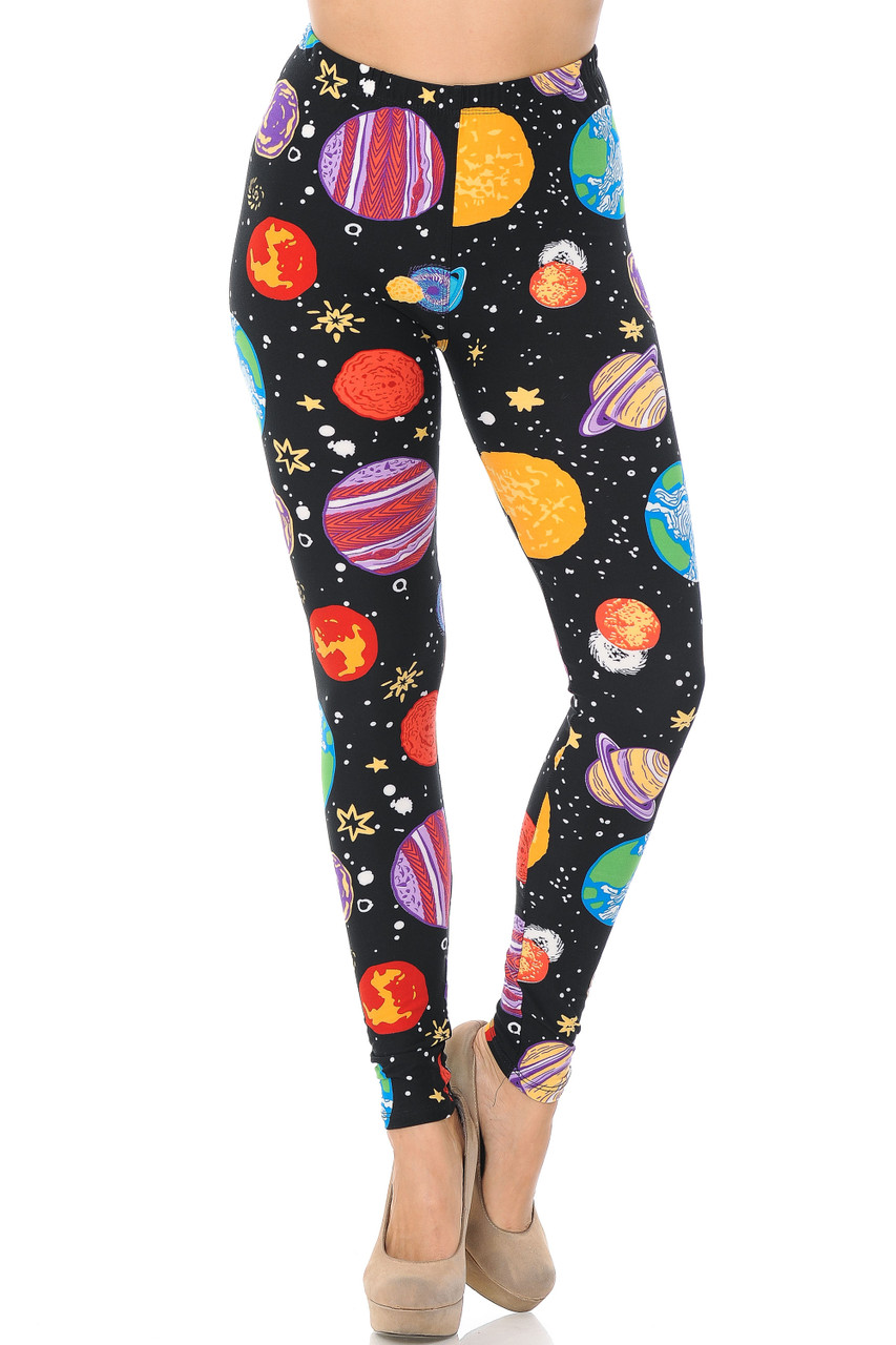 Front image view of Buttery Soft Planets in Space Leggings with an elastic stretch waist that comes up to about mid rise.
