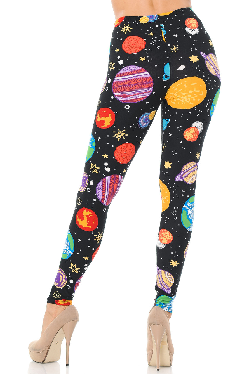 Back view image of our flattering and stylish Buttery Soft Planets in Space Plus Size Leggings