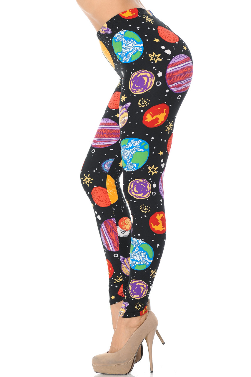 Left side image view of Buttery Soft Planets in Space Extra Plus Size Leggings - 3X-5X