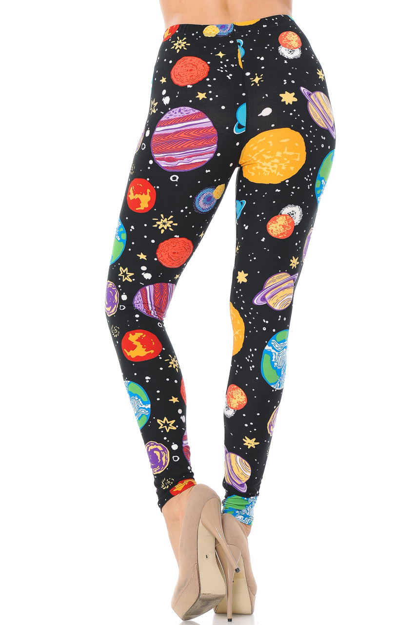 Back image view of Buttery Soft Planets in Space Extra Plus Size Leggings - 3X-5X