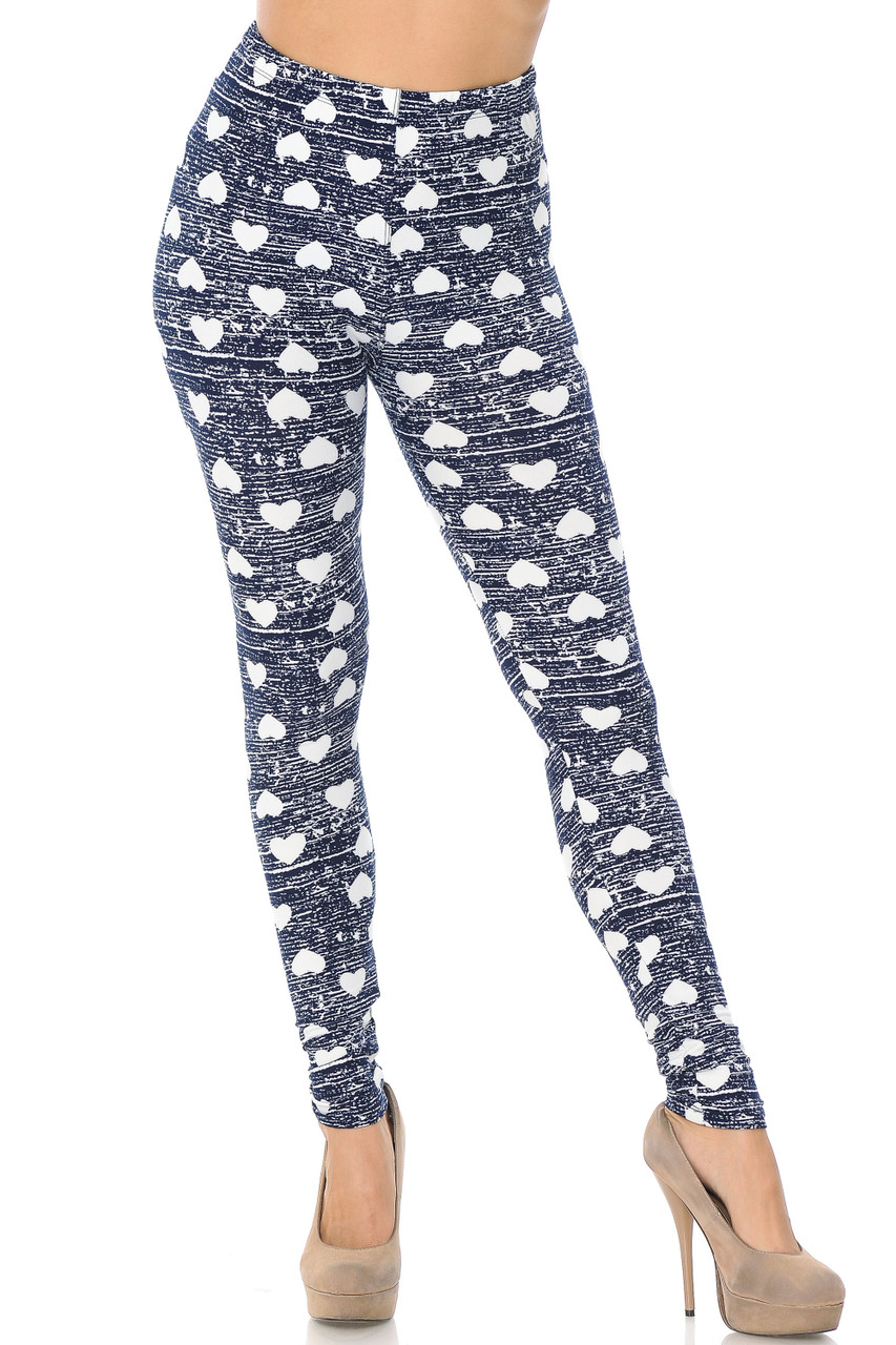 Front view of our full length skinny leg cut Buttery Soft Rustic Hearts Leggings with a color palette that works for any season.