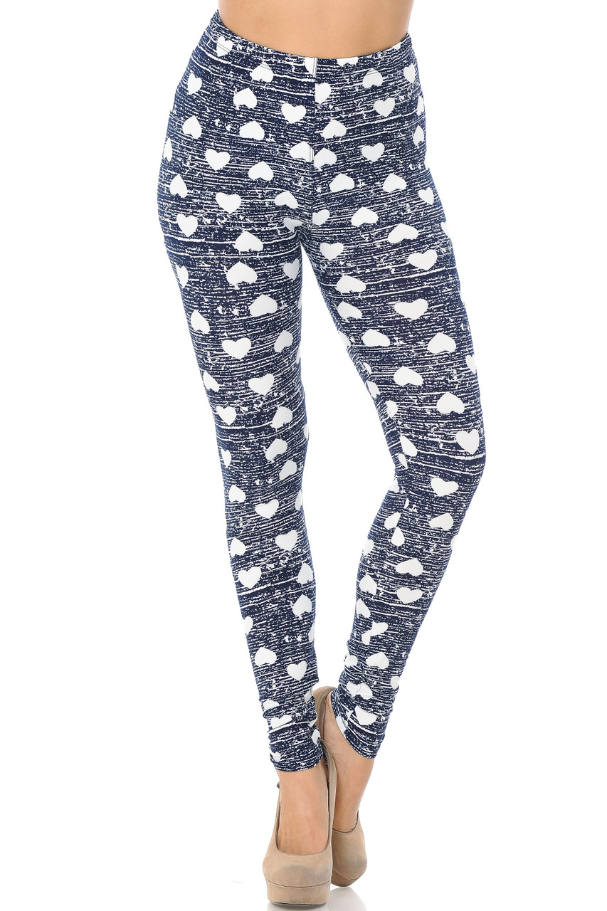 Front image of Buttery Soft Rustic Hearts Leggings with an elastic waistband that comes to about mid rise.