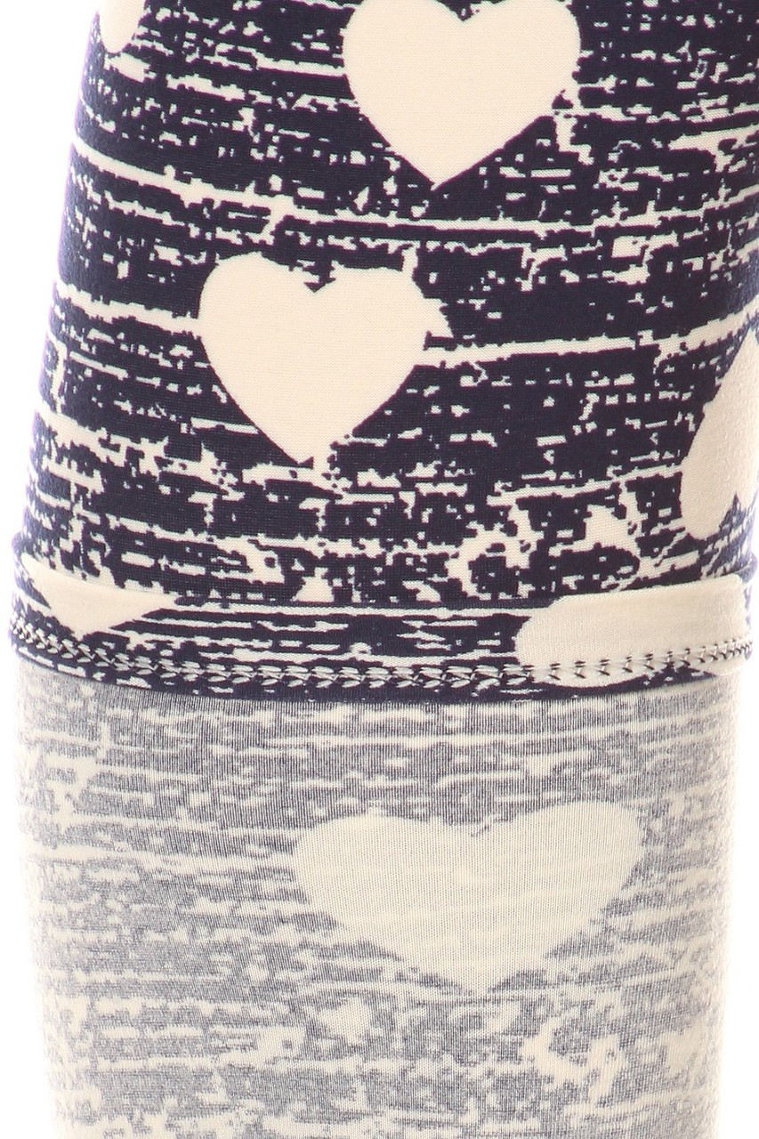 Close up swatch of Buttery Soft Rustic Hearts Plus Size Leggings