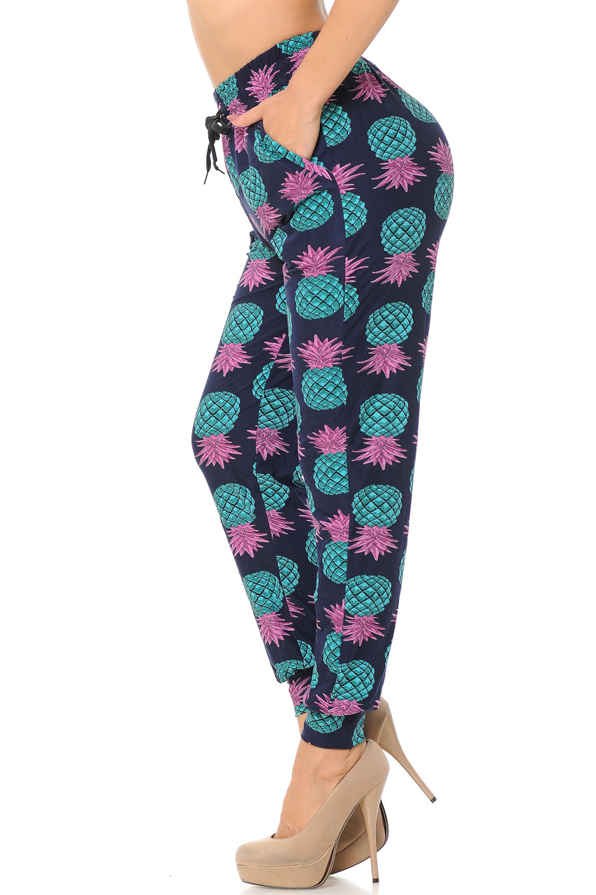 Left side view image of Buttery Soft Teal Pineapple Women's Joggers  featuring  a tie string elastic waist.