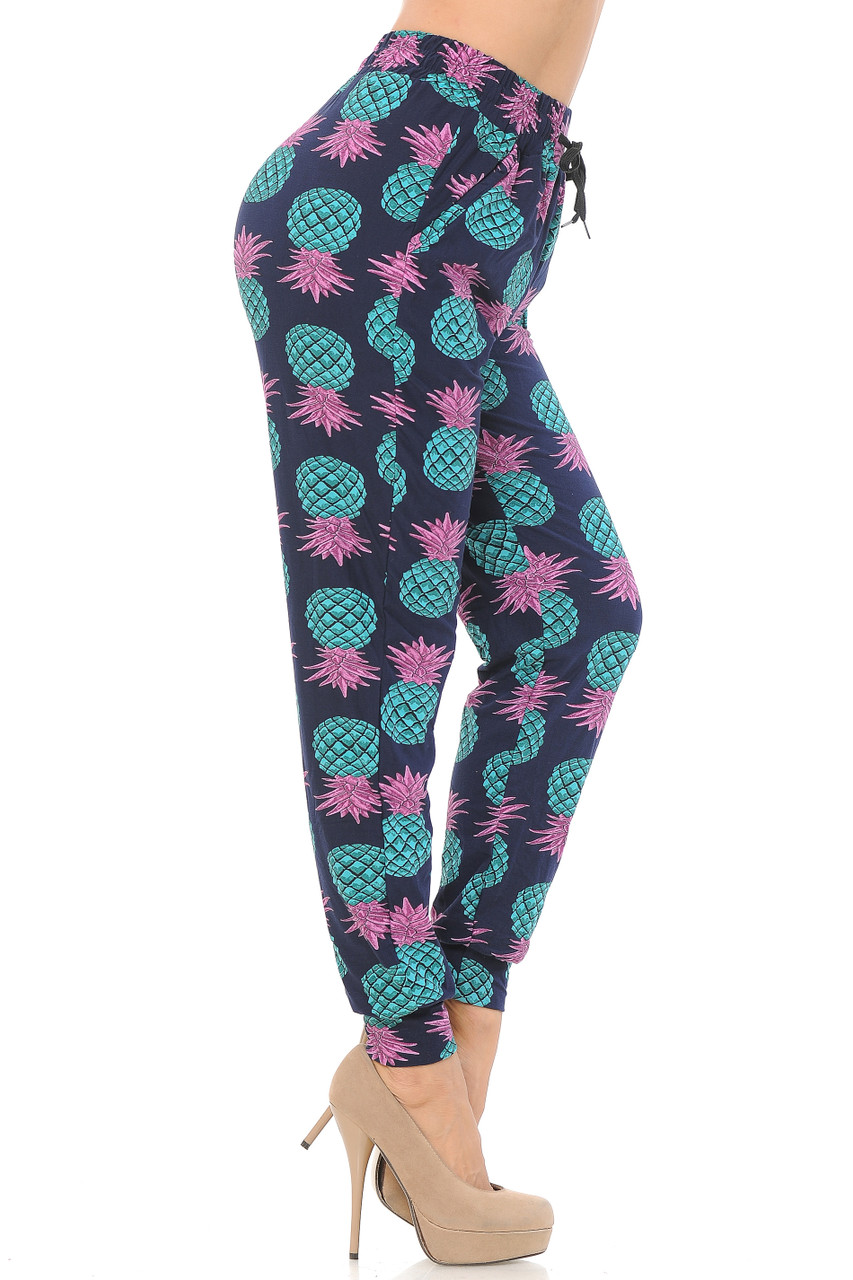 Right side leg view of Buttery Soft Teal Pineapple Women's Joggers