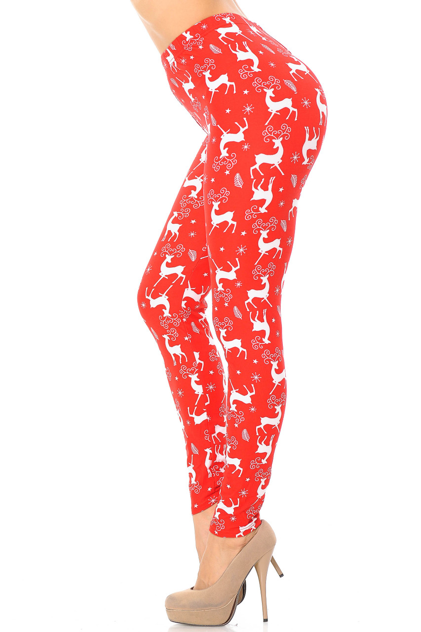 Left side view image of Buttery Soft Prancing Christmas Reindeer Extra Plus Size Leggings - 3X-5X