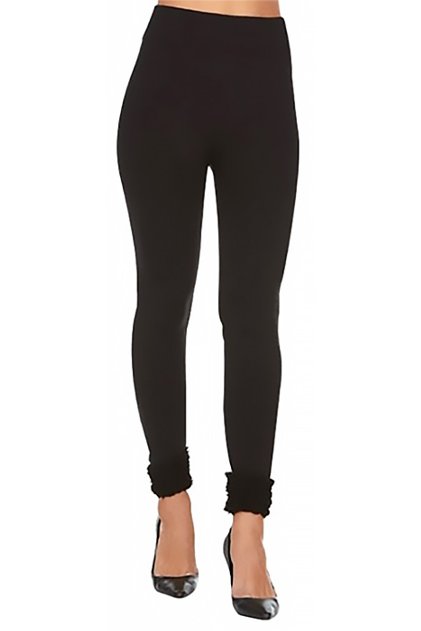 Front view of Women's Fleece Lined Black Cuff Leggings with a solid black look and fuzzy ankle cuffs.
